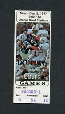 1977 Baltimore Colts vs. Miami Dolphins NFL AFC Game Ticket Stub Griese Shula