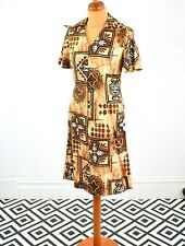 Vintage 80's Japanese Brown White Ethnic Print Dress Retro Boho 10