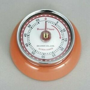 Magnetic Kitchen Timer - ORANGE COLOUR - Round Retro Timer Dulton Vintage Style