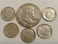 Franklin Half Dollar & 5 Roosevelt Dimes, 90% Silver US Coin Lot 6 Coins Lot A