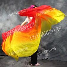 TIE-DYE BELLY DANCE 100% SILK VEILS 1.14M*2.7M  YELLOW ORANGE RED + carry bag