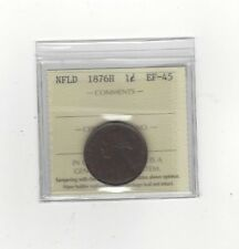 **1876H**, ICCS Graded Newfoundland, Large One Cent, **EF-45**
