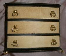 Etonnant Coffret à bijoux italien en cuir bois & poignée + patte de lion bronze
