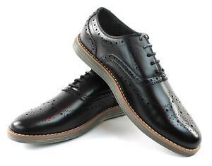 Men's Black Wing Tip Dress Casual Shoes Comfort Slip Resistant Jaxson C-1905
