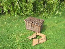Vintage old wicker fishing creel basket