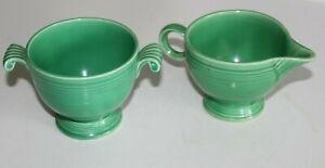 Vintage (1930's) Fiesta HLC Pottery Original Green Creamer & Sugar Bowl Set