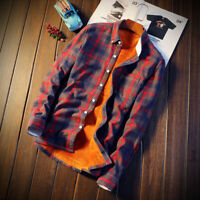HOT Men Long Sleeve Casual Shirts Outerwear Plaid Thick Wool Liner Flannel Mens
