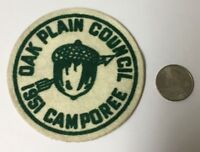 Vintage Oak Plain Council 1951 Boy Scouts BSA Camporee Patch Acorn & Arrow