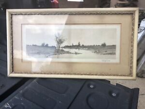 "vintage c1890 signed etching w fancy frame 30/16"" - 22.5/9"" art E L Field artist"