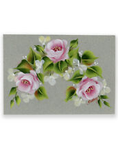 ACEO ORIGINAL painting roses spray white flowers Kay Overs floral collectible