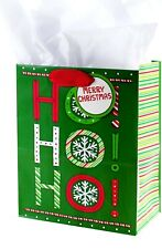 2 Hallmark Medium Merry Christmas Gift Bag with White Tissue Paper (Ho Ho Ho)
