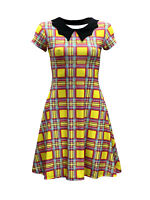 Women's Yellow Pink Tartan Check 50's Collar Swing Rockabilly Dress Vintage