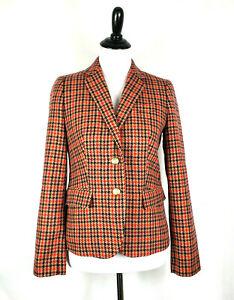 NWOT~J.Crew~Houndstooth Wool Blend 2-Button Schoolboy Blazer Jacket~Womens Sz 4