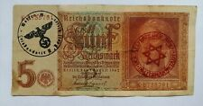 More details for nazi era germany genuine banknote 5 funf wwii 1939-45