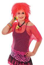 Señoras Neon Pink Punk Rocker Chaleco Top Nu Rave Fancy Dress Costume Reino Unido 10-14
