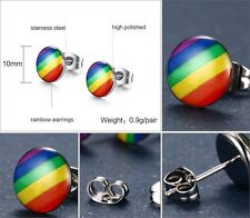 High Quality Gay Pride LGBT Rainbow Stainless Steel Stud Earrings Unisex (0060)