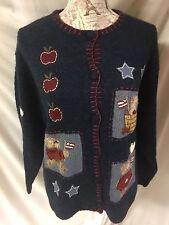 Croft & Barrow American Bear Flag Apple School Teacher Button Sweater Cardigan L