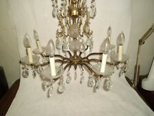 "Antique pure golden brass chandelier 8 lights 25"" Crystal  Prisms."
