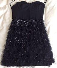 Kate Moss Topshop Black Sequin Ruffle Dress Size UK 10