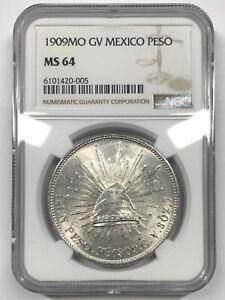 1909 Mo GV Mexico Peso NGC MS64