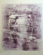 Volker Mehner (1953) Rare Gravure sur bois de 1978 Signée 59x42cm Abstraction