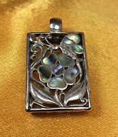 Vintage 925 Sterling Silver Abalone Gemstone Inlay Ladies Pendant Fine Jewelry