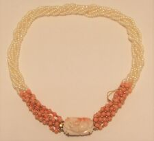 Hand strung fresh water cultured Pearl Necklace with pink coral & 14k gold beads