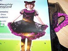 Size 3-4T Black Pink Naughty Leopard Costume Dress & Ears Cheetah Cat Halloween