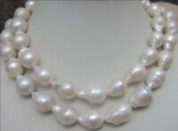 Beautiful 14-23MM NATURAL AAA SOUTH SEA WHITE BAROQUE PEARL NECKLACE 35 ''
