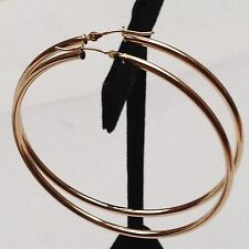 """(2.5"""") Hoop Earring with Hinged Clasp Fashion 14kt Gold Yellow Shiney 2mmx60mm"""