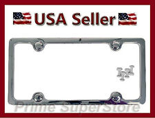 New Chrome Abs Plastic License Plate Frame Fasteners Amp Caps For Car Auto Suv Tag