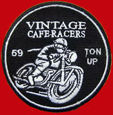 VINTAGE CAFE RACER 59 ACE TON UP  OVAL 3 INCH EMBROIDERED BIKER PATCH