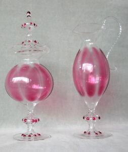 Vienna Werkestatten BIMINI Vase & Cruet ultra-thin, cranberry decorated. Austria