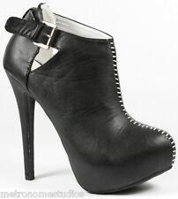 Black Faux Leather High Heel Platform Ankle Boot Bootie 8.5 us Yasmine-20