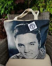 WOMEN'S TOTE HAND BAG ELVIS PRESLEY Design Woven Canvas Shoulder Style Zip Top