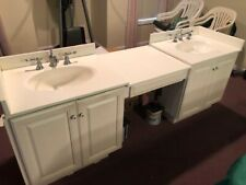 Double Bathroom Vanity with sinks, faucets, drains