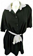 SHORT SLEEVE BLACK DRESS WITH CONTRAST POLKA DOT COLLAR & TIE, ASOS UK 16, LD260