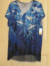 WOMENS CATHERINES 3X TOP SHIRT MULTICOLOR STUDS RHINESTONES NWT BLUES BLK FLORAL