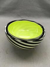 Geoffrey Beetem Handmade Art Glass Nesting Bowl Black White Swirl Green {DD492}