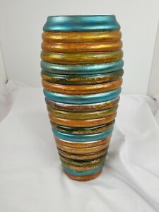 "Decorative 12"" Vase With MultiColored Stripes"