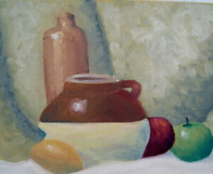 Original Oil Painting Still Life Pottery Fruit Green Red Apples 9 x 12 Canvas