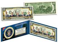 PRESIDENTS 1969-93 Colorized $2 Bill  Legal Tender NIXON FORD CARTER REAGAN BUSH