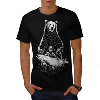 Wellcoda Fishing Bear Angler Mens T-shirt, Grizzly Graphic Design Printed Tee
