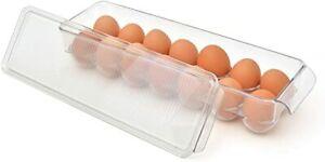 Kitchen Plastic Egg Holder, BPA Free Fridge Organizer w Lid, 14 Egg Tray, Clear