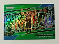 2018-19 Panini Prizm Get Hyped Green Prizm Stephen Curry #2 Warriors