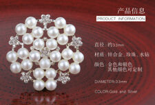 20PCS 33MM Bling Metal Rhinestone Pearl Buttons for Flower Center Decorative
