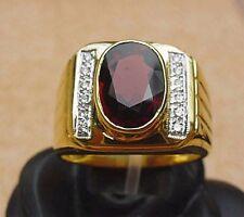 Men's 18K Solid Gold Garnet Ring