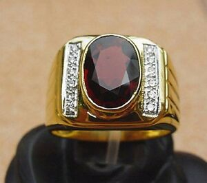 Men's 18K Solid Gold Garnet Ring