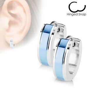 Stainless Steel Stripe Huggie Cuff Hoop Earrings Black Blue Rose Gold Silver