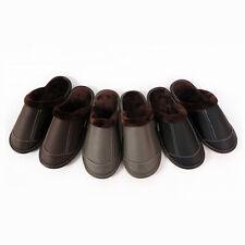 Winter Warm Faux Leather Slippers Fleece Lined Shoes Non-Slip Flat Indoor Wear